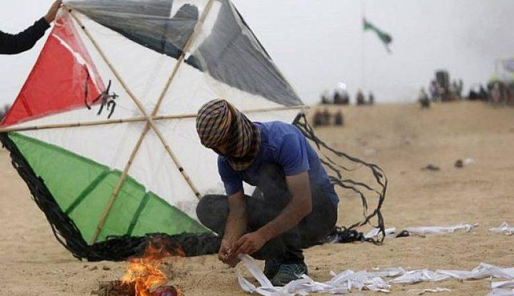 بالون حارق كاد ان يتسبب بكارثة على حدود غزة
