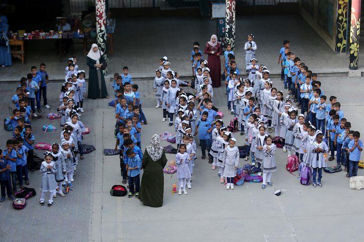 """خلال افتتاح العام الدراسي الجديد في مدرسة تابعة لوكالة الغوث وتشغيل اللاجئين الفلسطينيين """"أونروا"""" في دير البلح وسط قطاع غزة."""
