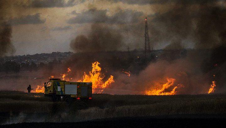 حرائق بمستوطنات غلاف غزة بفعل بالونات حارقة