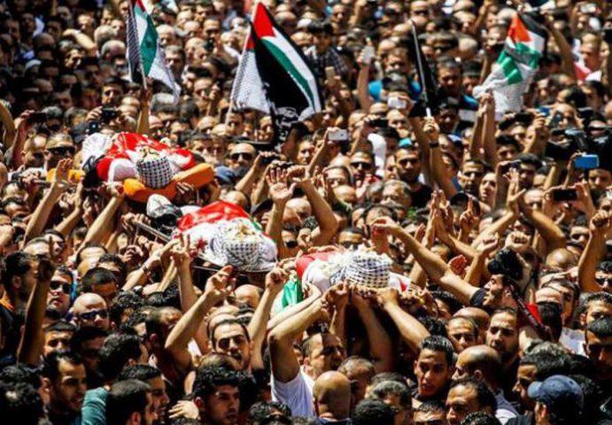 تشييع جثامين 4 شهداء قضوا بنيران الاحتلال في غزة