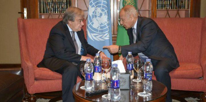 أبو الغيظ وغوتيريس يؤكدان على دعم الشعب الفلسطيني