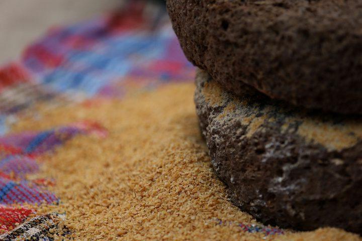 سيدة فلسطينية تطحن القمح بواسطة مطحنة حجرية داخل منزلها، في قرية جلبون بالقرب من مدينة جنين في الضفة الغربية.