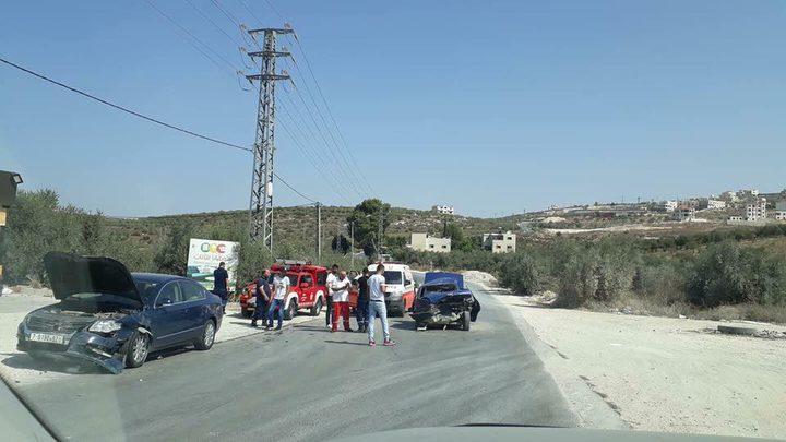 حادث سير على طريق صرّة غرب نابلس