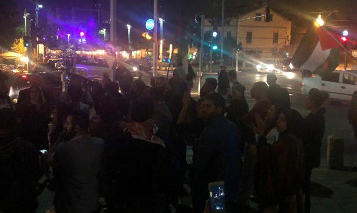 مظاهرة في مدينة حيفا المحتلة انتصارًا لغزة