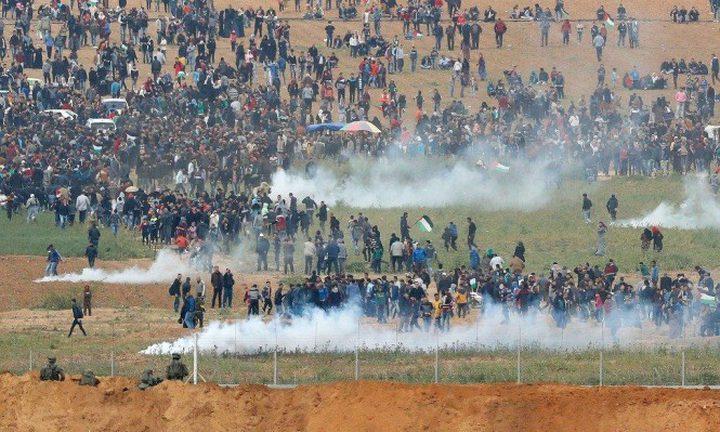 اصابات برصاص الاحتلال والاختناق على حدود قطاع غزة
