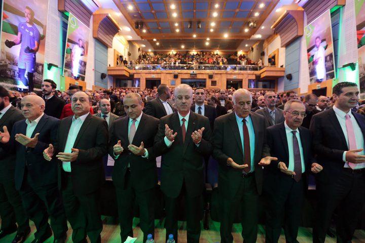رئيس الوزراء د. رامي الحمد الله خلال حفل تكريم الاتحاد الفلسطيني لكرة القدم، في جامعة النجاح الوطنية.