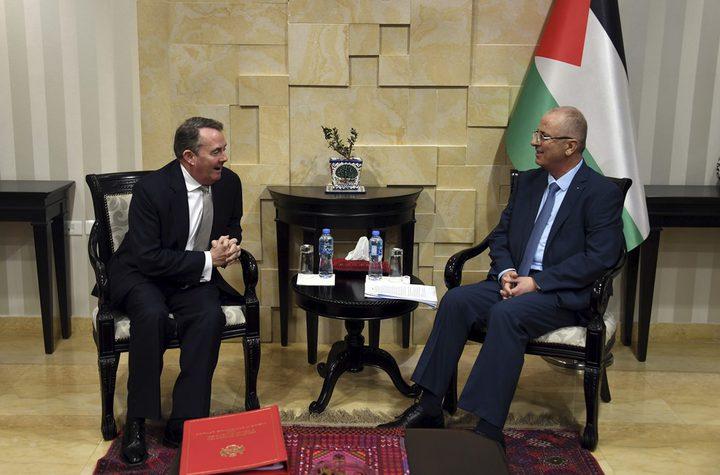 الحمد الله يستقبل وزير التجارة الدولية البريطاني