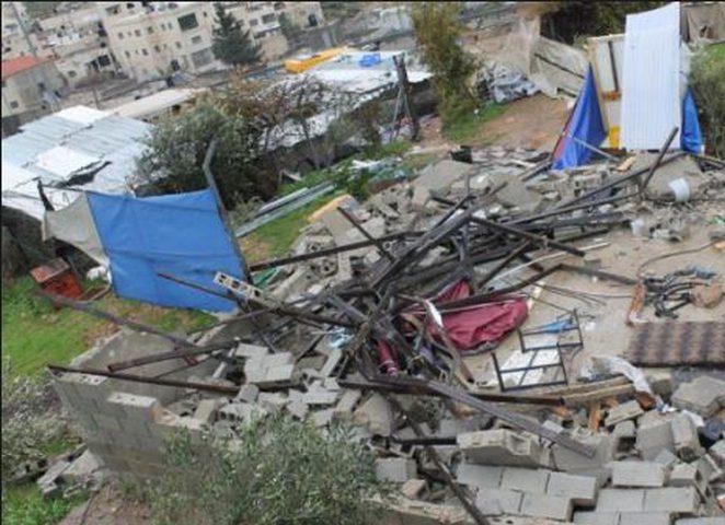 الاحتلال يهدم مسكنا في سوبا غرب الخليل