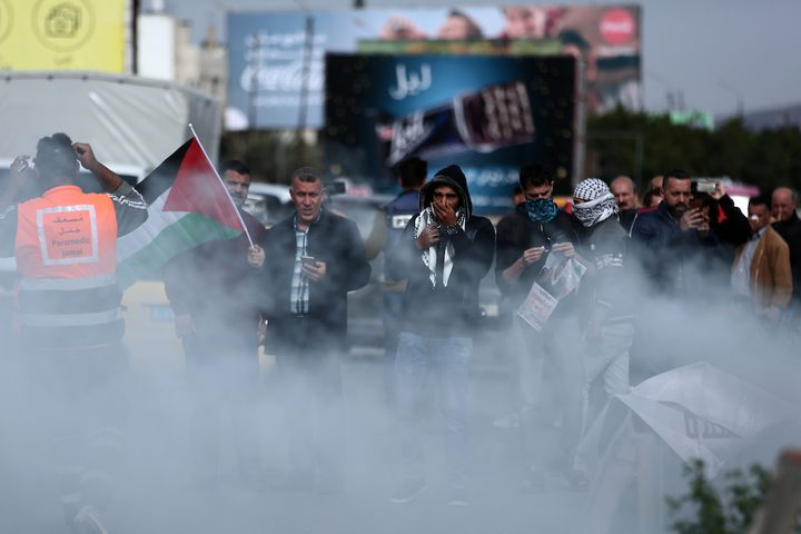 مواجهات اندلعت بين قوات الاحتلال والمتظاهرين عصر اليوم الاحد،2 ديسمبر 2018,عقب قمع الاحتلال لمسيرة جماهيرية حاشدة جنوب نابلس .