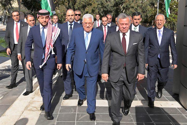 الرئيس الفلسطيني محمود عباس يلتقي العاهل الأردني الملك عبد الله الثاني وولي العهد الأردني ، في عمان ، الأردن يوم 18 ديسمبر 2018.