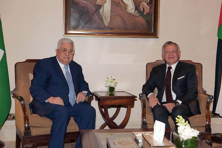 لرئيس الفلسطيني محمود عباس يجتمع مع العاهل الأردني الملك عبد الله الثاني ، في عمان ، الأردن في 18 ديسمبر ، 2018.