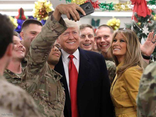 ترامب في زيارة مفاجئة إلى العراق.. وينفي أي خطط لسحب قواته