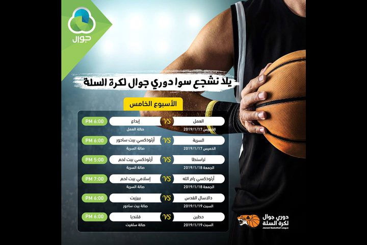 الاتحاد الفلسطيني لكرة السلة يجدول مباريات الاسبوع الخامس