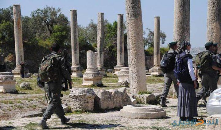 مستوطنون يقتحمون المنطقة الاثرية في سبسطية شمال نابلس