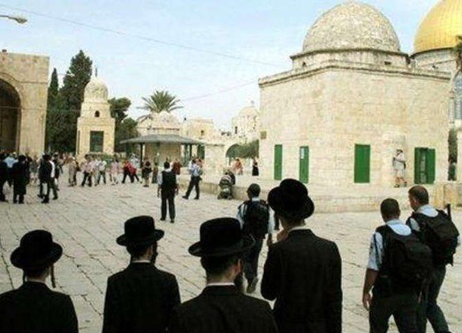 مستوطنون يؤدون صلوات تلمودية عند باب حطة بالأقصى
