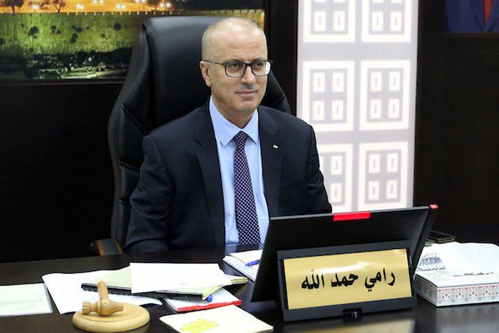 رئيس الوزراء الفلسطيني ، رامي الحمد الله ، يرأس اجتماعاً لمجلس الوزراء ، في مدينة رام الله بالضفة الغربية ، في 12 فبراير / شباط 2019.