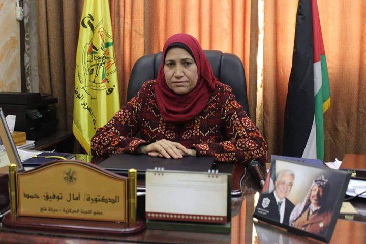 امال حمد :م ت ف بقيادة الرئيس ابومازن هي عنوان الشعب الفلسطيني