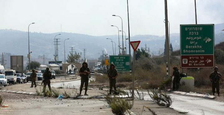 الاحتلال يغلق طريقا جنوب نابلس