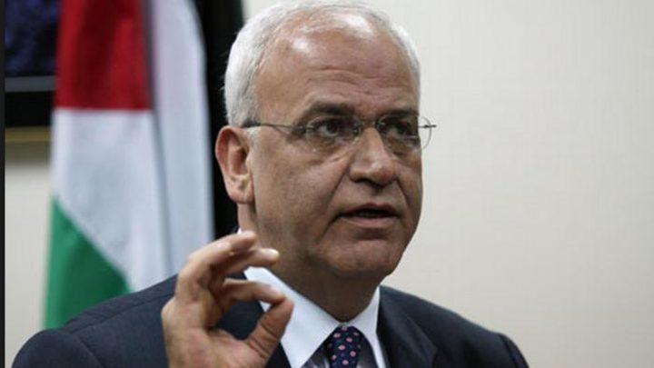 عريقات: الرئيس طلب من حنا ناصر تكثيف الاتصالات مع حماس