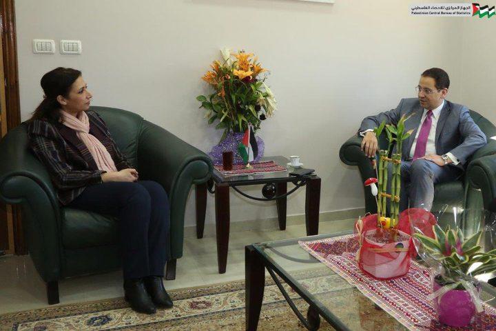 عوض تستقبل السفير المصري لدى دولة فلسطين
