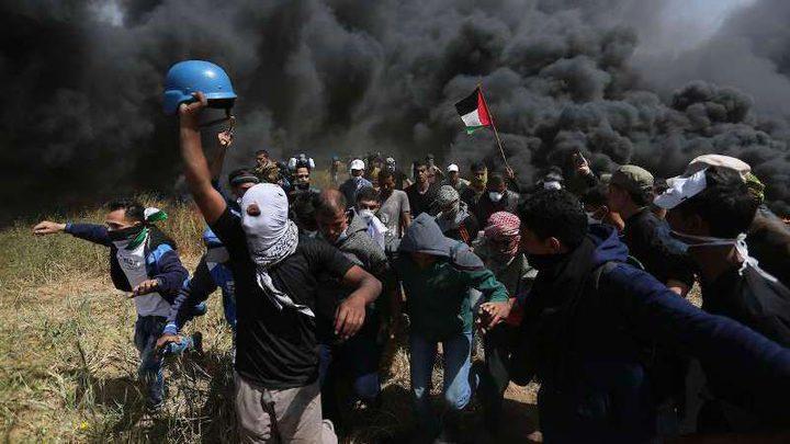 إصابات بالاختناق خلال قمع الاحتلال لتظاهرات سلمية شرق القطاع