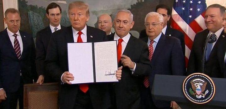 ترامب يوقع قرار اعتراف أمريكا بسيادة إسرائيل على الجولان