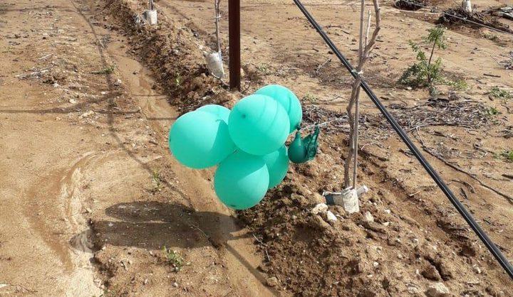 الاحتلال يزعم سقوط عدد من البالونات الحارقة في محيط غلاف غزه