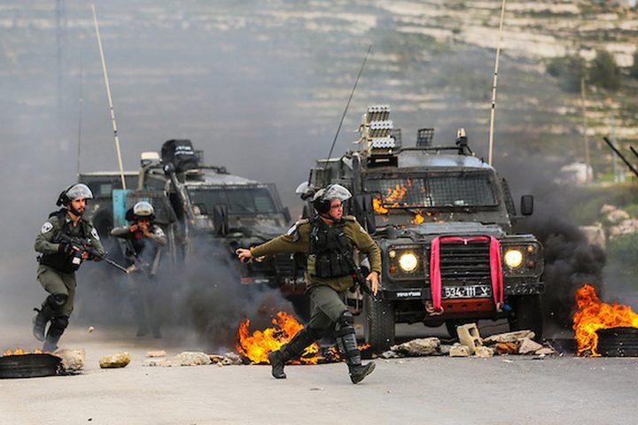 مواجهات مع الاحتلال في منطقة خرسا جنوب غرب الخليل