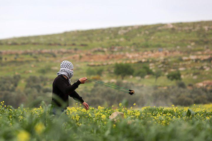 اشتباكات مع متظاهرين فلسطينيين مع القوات الإسرائيلية في أعقاب احتجاج بمناسبة يوم الأرض في قرية مغير ، بالقرب من مدينة رام الله بالضفة الغربية ، 29 مارس / آذار 2019.