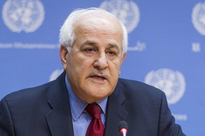 منصور:لايمكن للمجتمع الدولي أن يظل صامتا أمام الجرائم الاسرائيلية