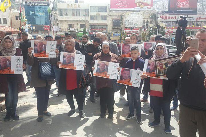 وقفة دعم واسناد في نابلس مع  الأسرى المضربين عن الطعام في سجون الاحتلال