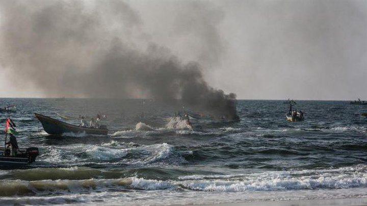 زوارق الاحتلال تطلق النار تجاه مراكب الصيادين ببحر غزة