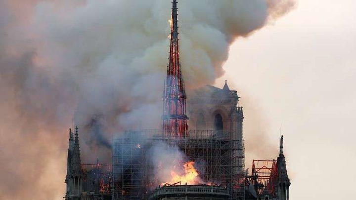 اندلاع حريق وانهيار سقف كاتدرائية نوتردام التاريخية وسط باريس