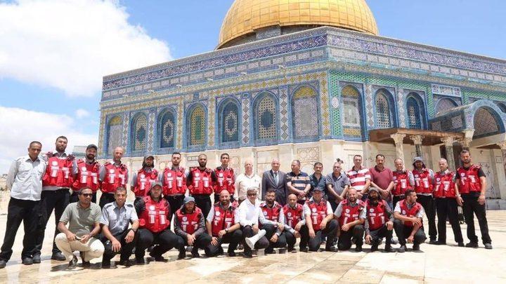 الدفاع المدني الأردني يجري تدريبات لرجال الإطفاء في المسجد الأقصى