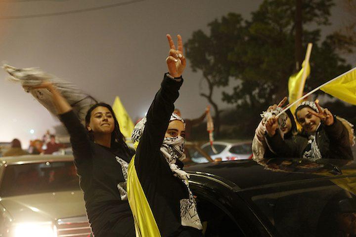 يحتفل مؤيدو حركة فتح الفلسطينية بعد نتائج انتخابات مجلس طلاب جامعة بيرزيت ، في مدينة رام الله بالضفة الغربية ، في 17 أبريل ، 2019. ما مجموعه 9041 من أصل 113030 ناخب طلابي مؤهل ، أو 78 في المائة من الطلاب. ، شارك في الانتخابات التي أجريت أمس في الحرم الجامعي. أظهرت النتائج النهائية أن الكتلتين الرئيسيتين ، كتلة الشهيد ياسر عرفات المدعومة من فتح ، حصلت على 4056 صوتًا ، وحصلت كتلة الوفاء الإسلامية المدعومة من حماس على 3997 صوتًا ،