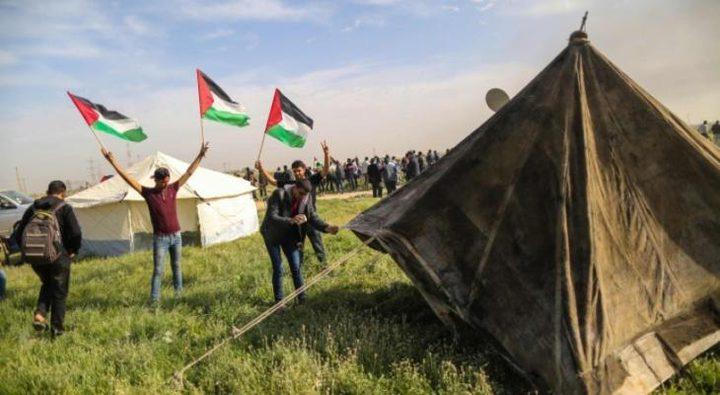 الاحتلال يطلق النار تجاه خيام العودة قرب حدود  غزة