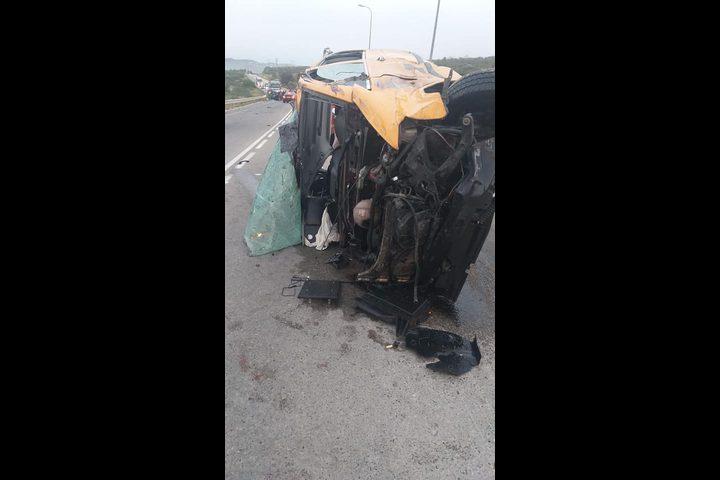 حادث سير مروع على طريق زعترة جنوب نابلس