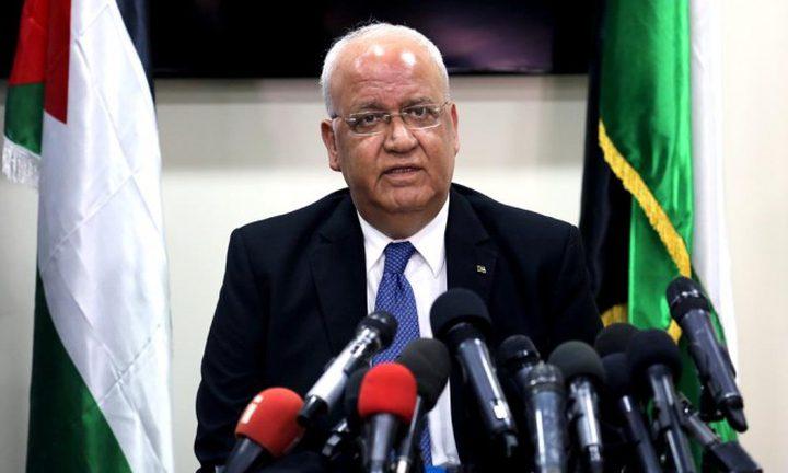 عريقات: حل جميع القضايا الفلسطينية يكمن في إنهاء الاحتلال