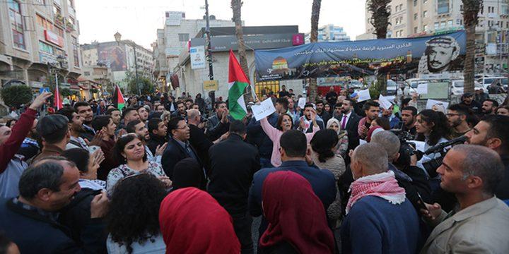 نابلس: مسيرة منددة بالعدوان الاسرائيلي على غزة