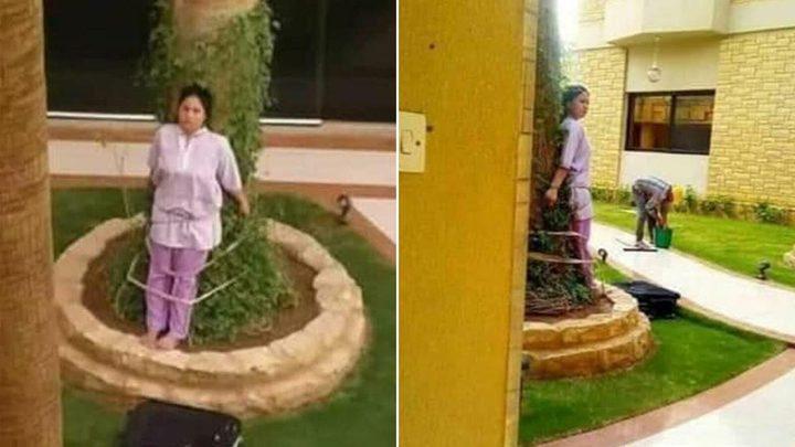 عائلة ثرية تربط خادمة فلبينية في شجرة تحت أشعة الشمس