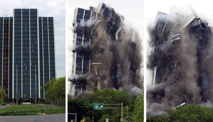 لحظة تفجير مبنى من 21 طابقا في ولاية بنسلفانيا الأمريكية