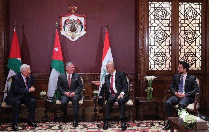 قمة ثلاثية تجمع الرئيس محمود عباس والعاهل الاردني والرئيس العراقي