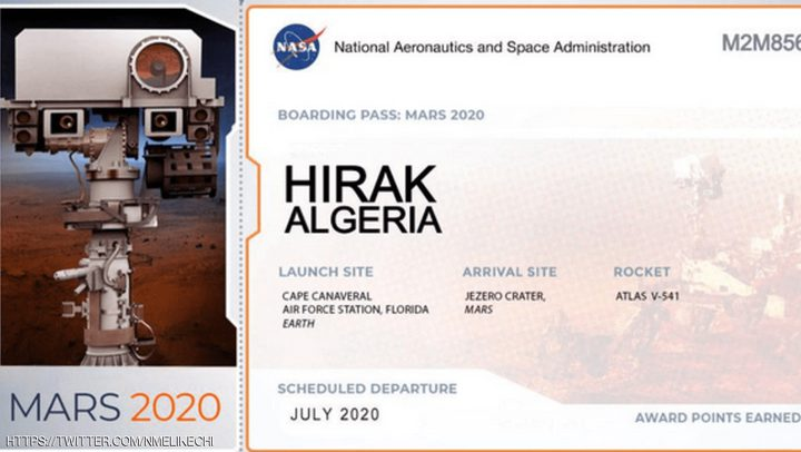 """""""حراك الجزائر"""".. على سطح المريخ من أجل السلام في الكون"""