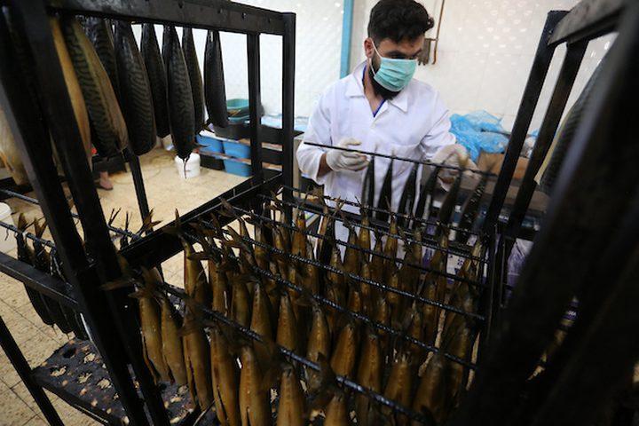 عمال فلسطينيون يعدون الماكريل للتدخين قبل البيع لعطلة عيد الفطر ، الذي يصادف نهاية شهر رمضان المبارك، في مخيم رفح للاجئين ، جنوب قطاع غزة