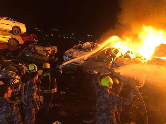 انقطاع الكهرباء عن شرق نابلس نتيجة حريق ضخم