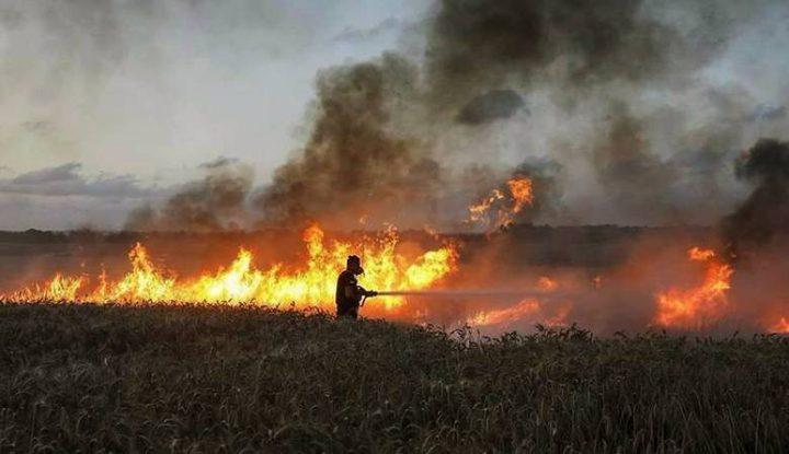 اندلاع حرائق في غلاف غزة نتيجة البالونات الحارقة