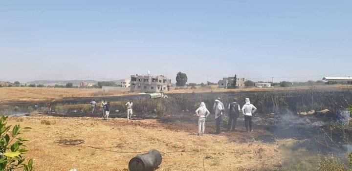 الدفاع المدني يسيطر على حريق في فقوعة طال 10دونمات قمح