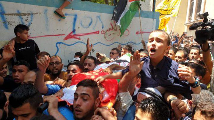 تشييع جنازة الشهيد المسعف محمد الجديلي وسط غزة