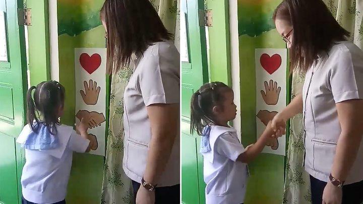 """معلمة تبتكر طريقة جديدة لتحية التلاميذ """"فيديو"""""""
