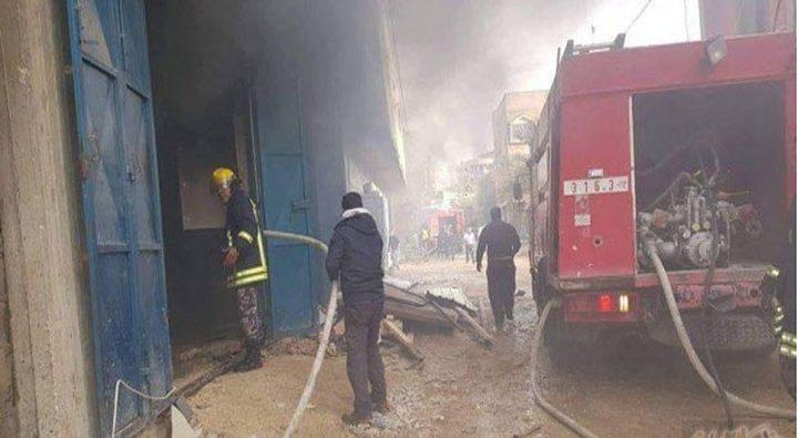 اخماد حريق كبير داخل منجرة بقلقيلية من قبل الدفاع المدني